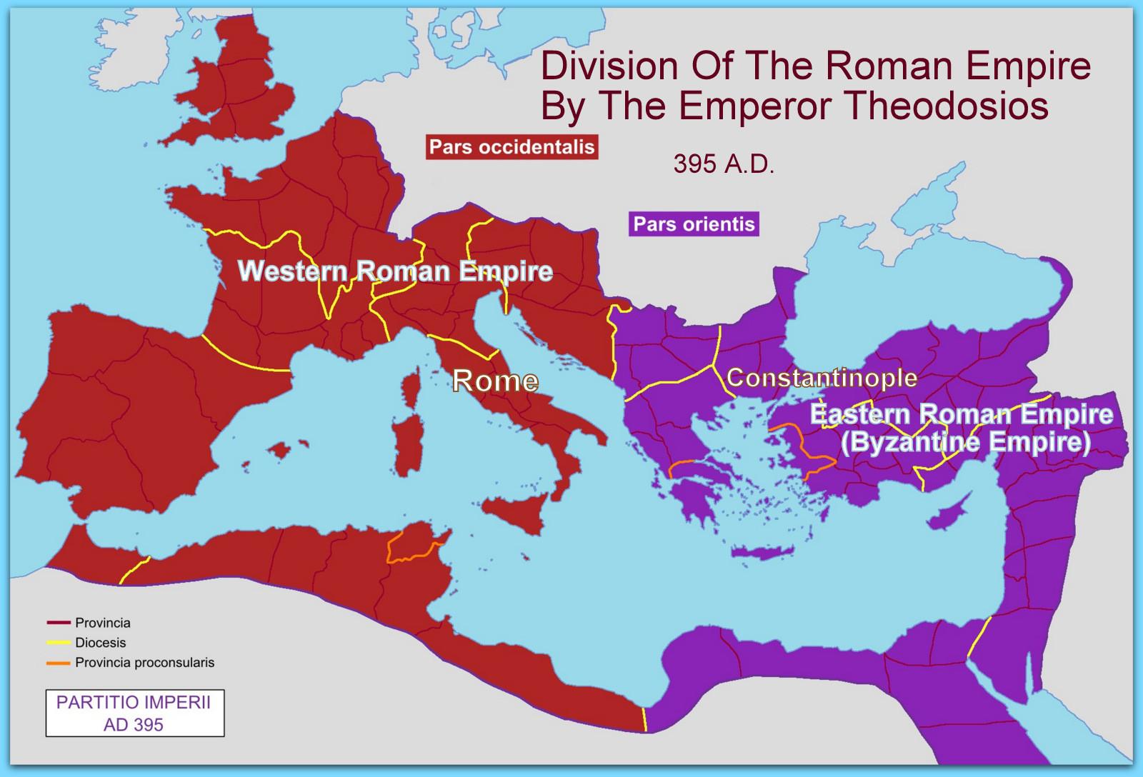podijela Rimskog carstva istok zapad