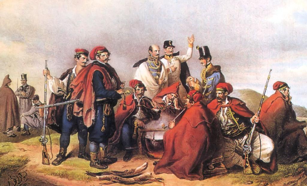 Josip Jelačić u društvu vojnika